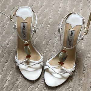 Jimmy Choo White Sandal with Bead Detail Heel 37